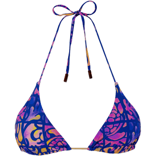 Women Triangle Printed - Women triangle bikini Top Phuket, Sea blue front