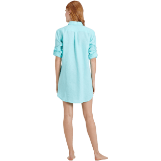 Women Others Solid - Women Long Linen Shirt Solid, Lagoon supp4