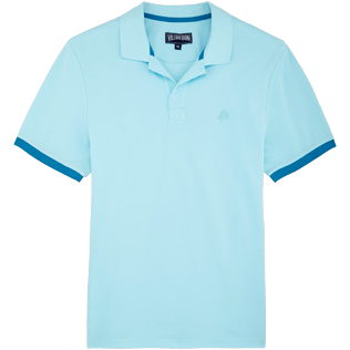 Men Others Solid - Men Cotton Pique Polo Shirt Solid, Aquamarine front