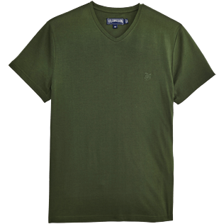 Men Tee-Shirts Solid - Solid V-neck Mercerized cotton T-Shirt, Olive front