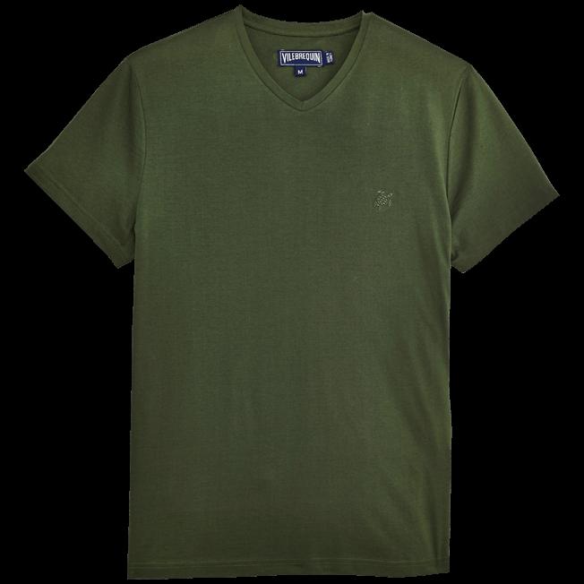 Vilebrequin - Solid V-neck Mercerized cotton T-Shirt - 1