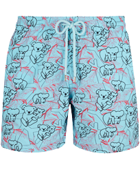 Men 017 Embroidered - Men Embroidered Swimwear Sydney - Limited Edition, Aquamarine front