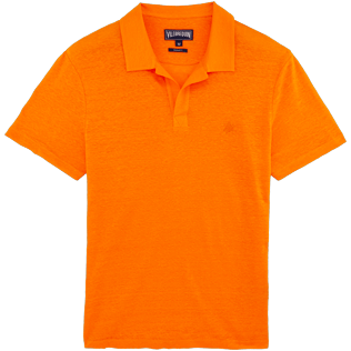 Men Polos Solid - Solid Linen jersey polo, Kumquat front