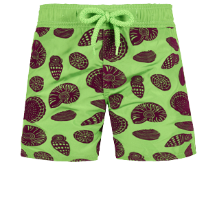 Boys Others Printed - Boys Ultra-light and packable Swim Trunks Shell Game Flocked, Neon green front