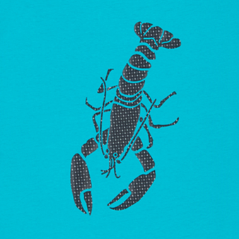 Men Cotton T-Shirt Lobster 3D effect, Light azure pattern