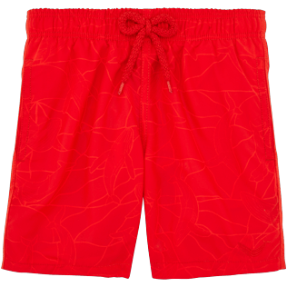 Boys Others Printed - Boys Water-Reactive Swimwear Magic Whales, Poppy red frontworn
