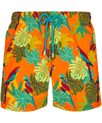 Men Stretch classic Printed - Men Stretch Short Swim Trunks 1998 Les Perroquets, Apricot front