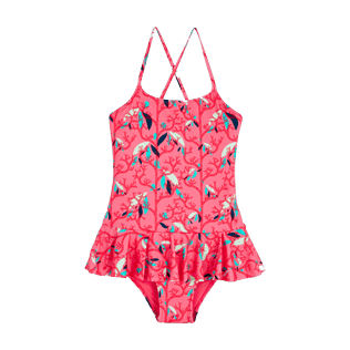 Girls Others Printed - Girls One Piece Swimsuit Frills Turtles Song, Cherry blossom front