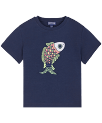 Boys Others Embroidered - Boys Cotton T-Shirt embroidered pattern, Navy front