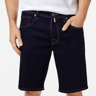 Men Others Solid - Men 5-Pocket Denim Bermuda Shorts, Dark denim w1 supp1