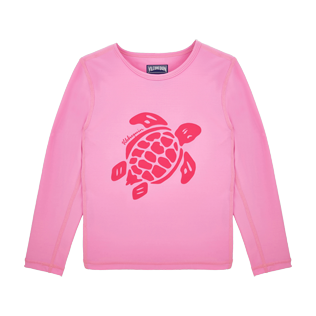 Others Printed - Kids Long Sleeves Rashguards Solid, Pink front