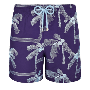 Men Embroidered Embroidered - Men Swimtrunks Embroidered Palmiers - Limited Edition, Amethyst front