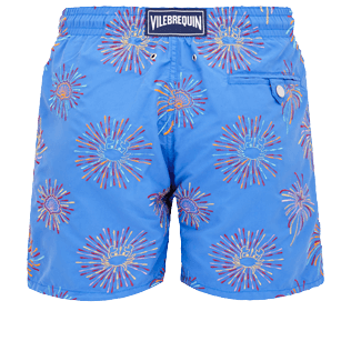 Men Classic Embroidered - Men Swimwear Embroidered Fireworks - Limited Edition, Sea blue back