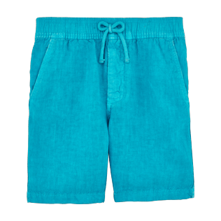 Boys Others Solid - Boys Linen Bermuda Shorts Solid, Curacao front