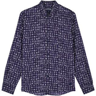 Others Printed - Unisex Cotton Voile Shirt Fortune Teller Turtles, Midnight blue front