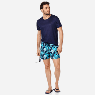 Men Stretch classic Printed - Men Swim Trunks Stretch Turtles Flowers, Navy supp2