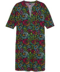 Donna Altri Stampato - Vestito donna in cotone e lino Evening Birds, Nero front