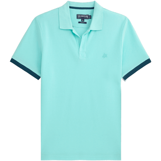 Men Polos Solid - Solid Cotton pique polo, Lagoon front