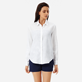 Women Others Solid - Women long sleeves Linen Shirt Solid, White frontworn