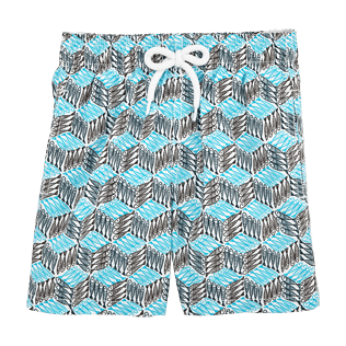 Boys Classic / Moorea Printed - Fishes Cube Swim Shorts, Azure front