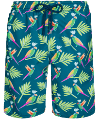 Men Long classic Printed - Men Long Swim Trunks Multicolore Parrots, Goa front