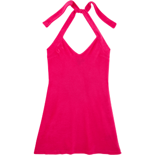 Women Others Solid - Women Short Halter Terry Cloth Dress Solid, Shocking pink front