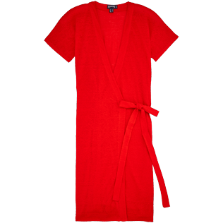 Femme Robes Uni - Robe Portefeuille Lin Unie, Coquelicot front