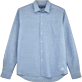 Men Shirts Graphic - Stripped Linen shirt, Jeans blue front