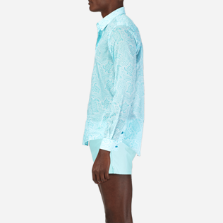 Shirts Printed - Unisex Cotton Voile Shirt Hypnotic Turtles, Lagoon supp3