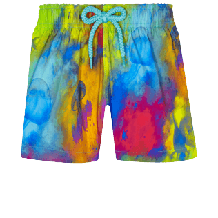 Girls Others Printed - Girls Stretch Swim Short Holi Party, Batik blue front