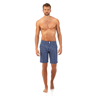 Men Long Printed - V Fish Long fitted cut Swim shorts, Navy frontworn