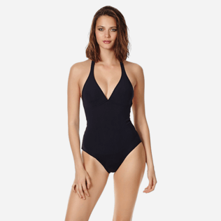 Women One piece Uni - Women shaping one piece swimsuit Solid, Black frontworn