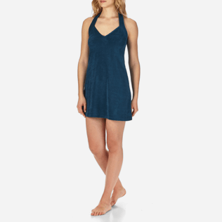 Women Others Solid - Women Short Halter Terry Cloth Dress Solid, Spray frontworn
