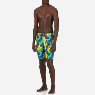 Men Long classic Printed - Men Long Swimwear Birds of Paradise, Veronese green frontworn