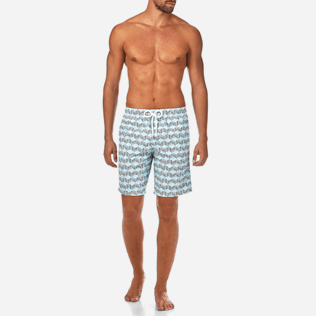 Men Long Printed - Fishes Cube Long Cut Swim shorts, Azure frontworn