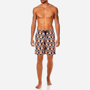 Men Long classic Printed - Primitive Turtles Long Cut Swim shorts, Navy frontworn