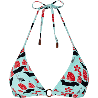 Women Halter Printed - Women halter bikini Top Hong Kong, Mint front