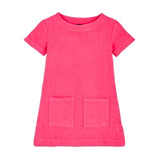 Girls Others Solid - Girls Linen Dress Solid, Cherry blossom front