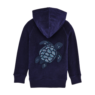 Boys Others Printed - Kids Terry Cloth Hoodie Modernist Fish, Navy back