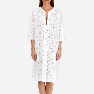 Women Others Embroidered - Women Short Cotton Tunic Dress Eyelet Embroidery, White supp1