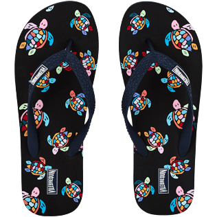 Men Others Printed - Men Flip Flop Over the Rainbow Turtles, Black front