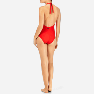Women One Piece Solid - Solid shaping One piece, Poppy red backworn