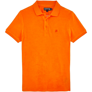 Men Others Solid - Men Terry Cloth Polo Shirt Solid, Kumquat front