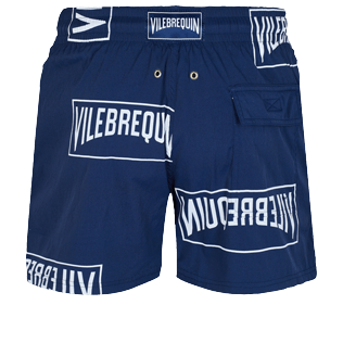 Men Stretch classic Printed - Men Stretch Swim Trunks Vilebrequin labels, Navy back