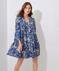 Women Others Printed - Women Linen Cover-up Botanicals, Botanicals frontworn