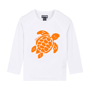 Others Printed - Kids Long Sleeves Rashguard Solid, White front