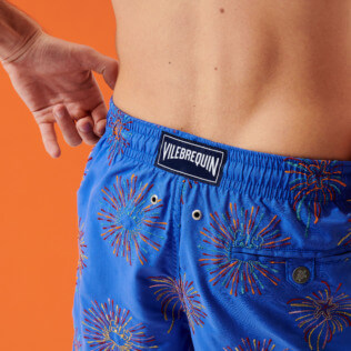 Men Classic Embroidered - Men Swimwear Embroidered Fireworks - Limited Edition, Sea blue supp2