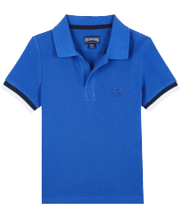 Boys Others Solid - Boys Cotton Pique Polo Shirt Solid, Sea blue front