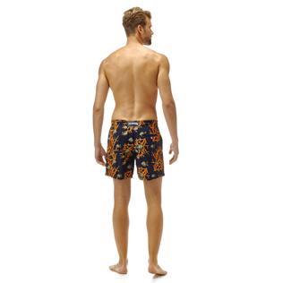 Men Classic / Moorea Embroidered - All Over Coral and Fish Embroidery Swimwear, Navy backworn