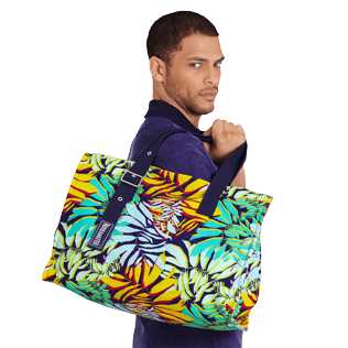 Autros Estampado - Bolsa de playa grande con estampado Jungle, Midnight blue supp2